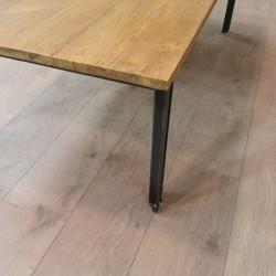 Table basse rectangulaire teck et métal 120x70 Sacha