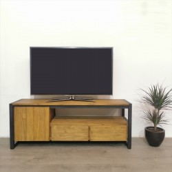 Meuble TV 1 porte teck et métal 145 Sacha