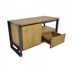 Meuble TV 1 tiroir teck et métal 95 Sacha