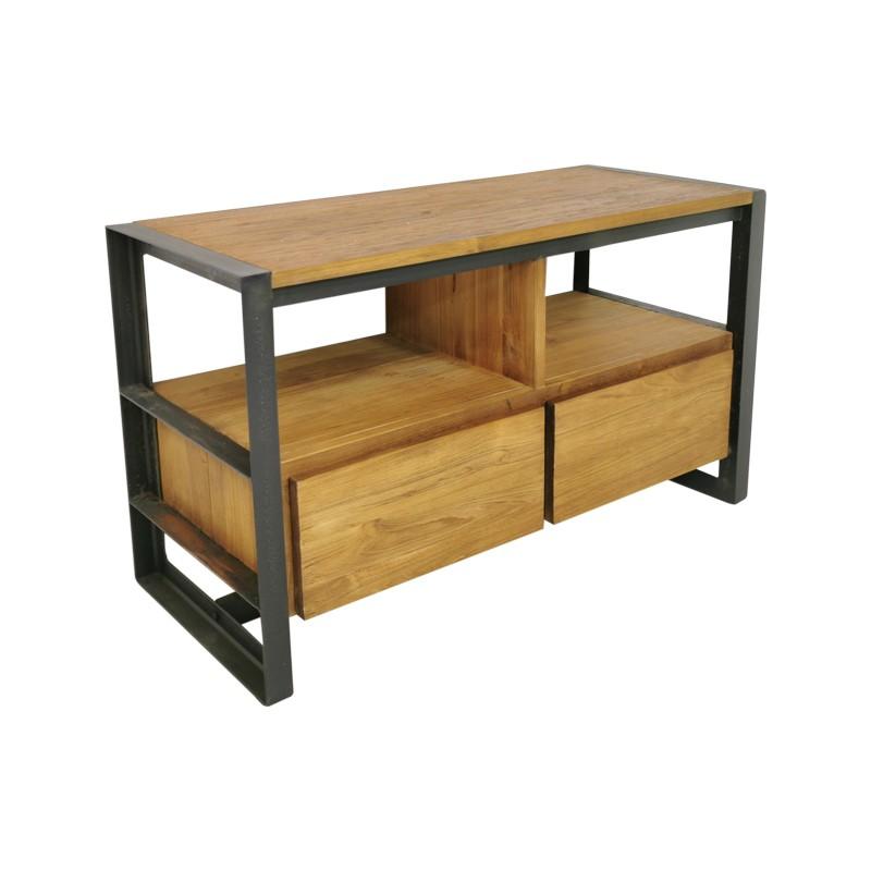 Meuble TV 2 tiroirs teck et métal 95 Sacha