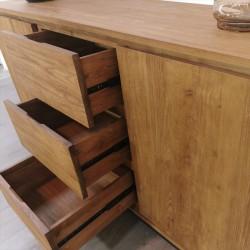Buffet 2 portes 3 tiroirs bois de teck et métal Alice
