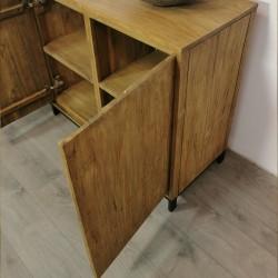 Buffet 3 portes 3 tiroirs bois de teck et métal Alice