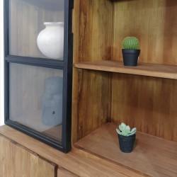 Armoire vitrine 2 portes bois de teck et métal 160 Alice