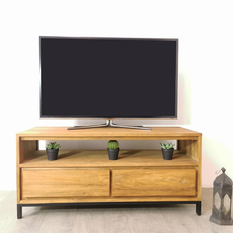 Meuble TV 2 tiroirs teck et métal Alice