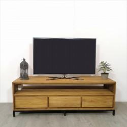 Meuble TV 3 tiroirs teck et métal Alice