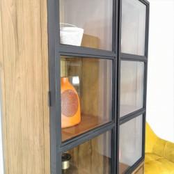 Armoire vitrine 2 portes 2 tiroirs teck et métal Alice
