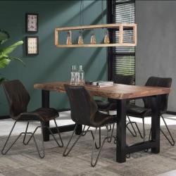 Table à manger acacia et métal forme tronc d'arbre