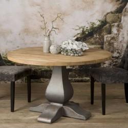 Table à manger ronde en teck 130x130 Pratas