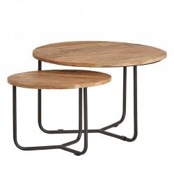 2 Tables gigognes rondes en manguier 75x75 et 55x55 Best