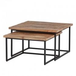 2 Tables gigognes carrées en manguier 80x80 et 70x70 Best