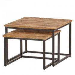 2 Tables gigognes carrées en manguier 60x60 et 50x50 Best