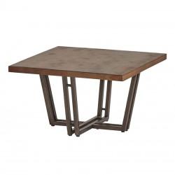 Table basse carrée en manguier et métal Estelle