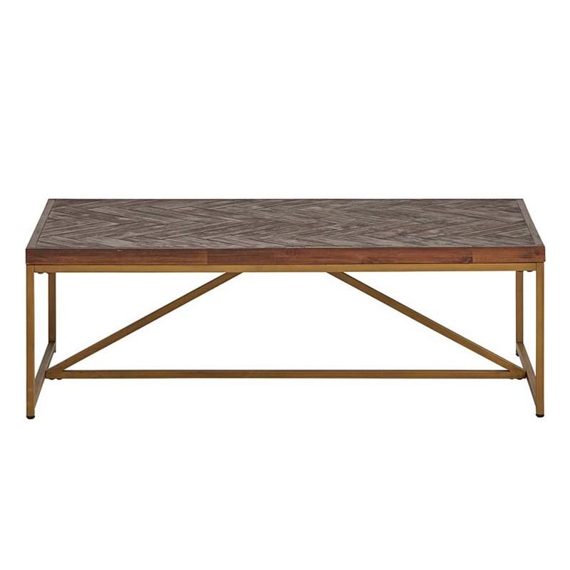 Table basse en acacia et métal 120x70 Mobilia