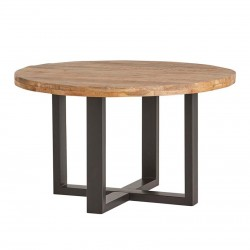Table à manger ronde en manguier et métal Ramby