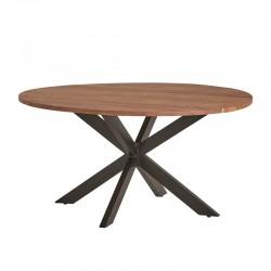 Table à manger en acacia et métal Rotaro