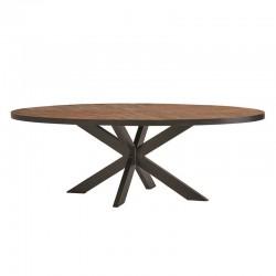 Table à manger ronde en teck et en métal Venezia