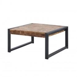 Table basse manguier et métal 80x80 Sahara