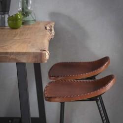 Table de bar forme naturelle en acacia 125x46