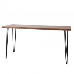 Table haute en acacia sur pieds fins en métal 180x70