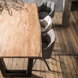 Table à manger en acacia sur pieds trapèze