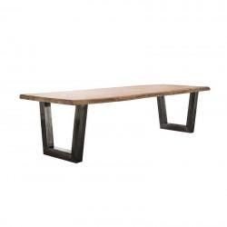 Table à manger en acacia 6 cm épaisseur sur pieds trapèze
