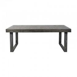 Table à manger en manguier avec pied argenté 200x95