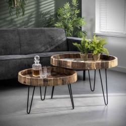 Tables gigognes en bois recyclé