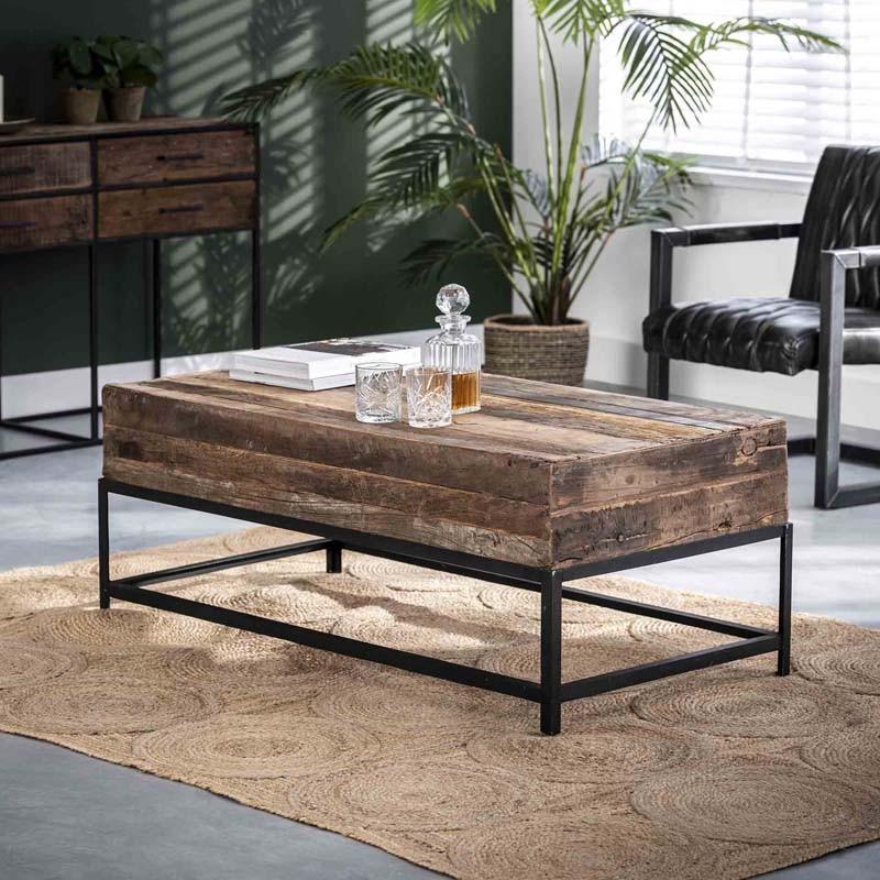 Table basse rectangle en bois recyclé 120x60