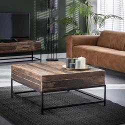 Table basse carrée en bois recyclé