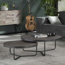 Tables rondes gigognes en acacia 90 et 70 cm