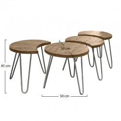 Ensemble 4 tables basses géométriques en manguier