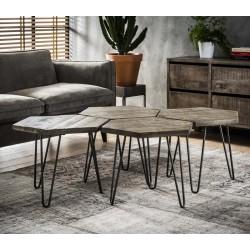Ensemble 4 tables basses en manguier forme hexagone