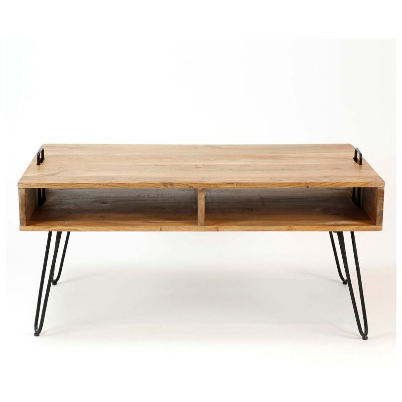 Table basse avec compartiments en acacia