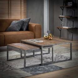 Table gigognes en bois 80x80 et 70x70