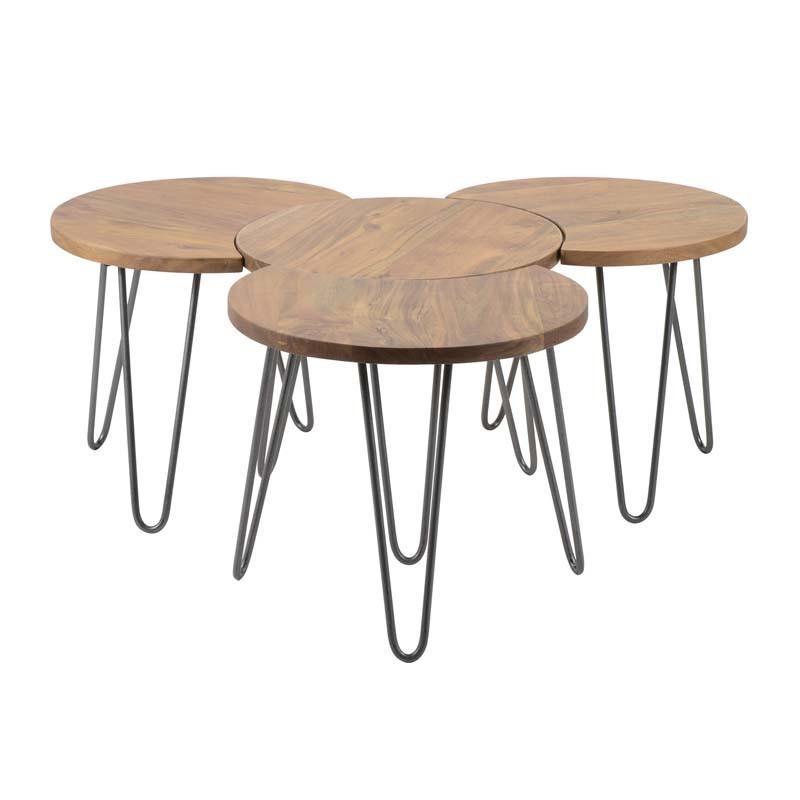 Ensemble 4 tables basses rondes géométriques