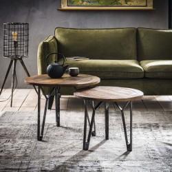 Table gigognes en bois recyclé 50 et 60 cm