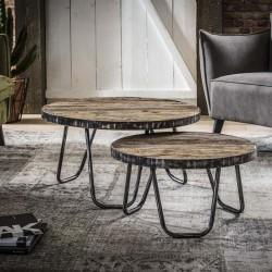 Tables gigognes rondes en bois 60 et 75 cm