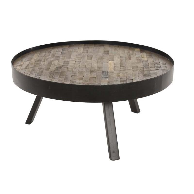 Table basse ronde en teck et métal 75x75