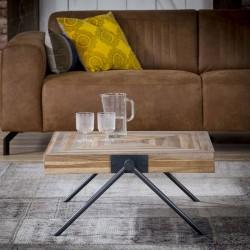 Table basse en teck recyclé pieds forme V 70 cm