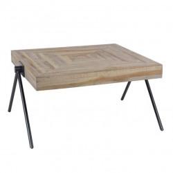 Table basse en teck recyclé pieds forme V 80 cm