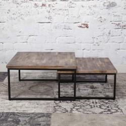 Tables gigognes carrées en teck et métal 65 et 70 cm