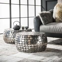 Ensemble 2 tables basses réfléchissantes en métal