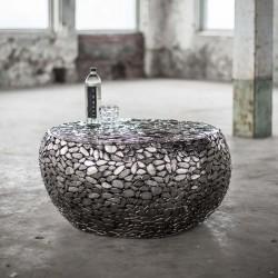 Table basse ronde réfléchissante en métal