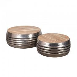 Ensemble 2 tables basses acacia et métal