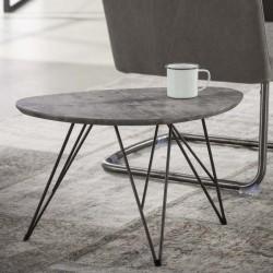 Table basse arrondie effet béton 60x40