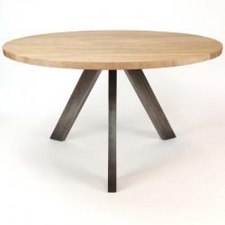 Table ronde en bois d'acacia et métal