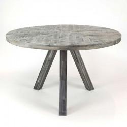 Table à manger en manguier et métal 120x120