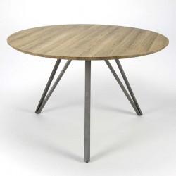 Table ronde en chêne et métal
