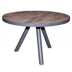 Table ronde en bois de teck et métal