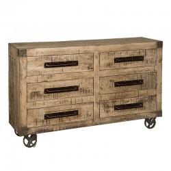 Buffet 6 tiroirs en bois de manguier et métal 150 Iffy